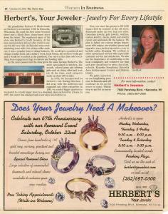 lisa block, kenosha jeweler, women in business, herberts jewelers