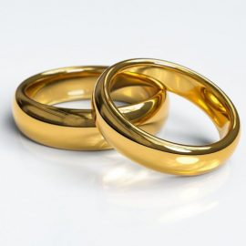 classic gold wedding rings, matching wedding rings, gold rings in kenosha